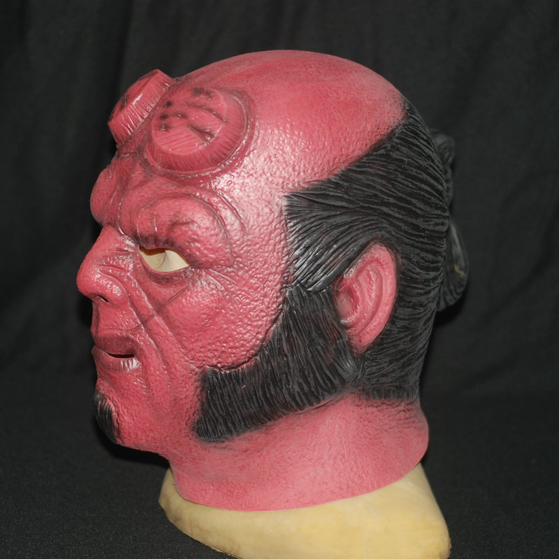 Hellboy Helmet Cosplay Halloween Realistic Silicone Masks Latex Escape The Room Costume  ...