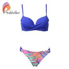 Andzhelika Bikini Women Swimsuit Push Up Swimwear 2018 Summer Sexy Print Fold Bikini Set Bathing Suit Swim Wear Monokini A73107