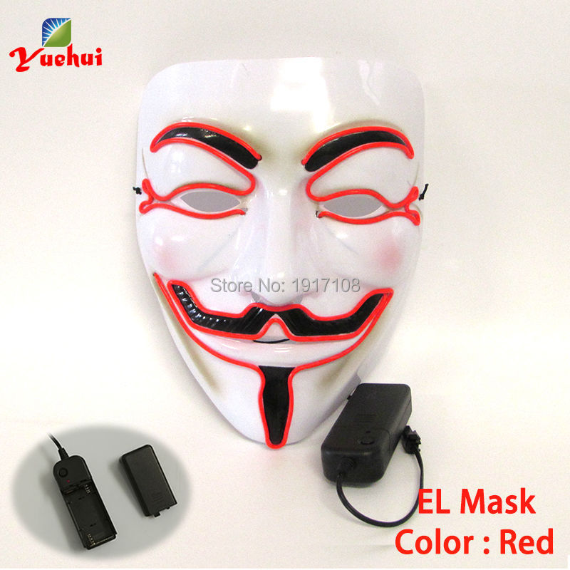1PC Colorful Flashing Halloween Vendetta Mask EL wire Mask glowing Festival LED Glowing Party Mask For dance Carnival Christmas