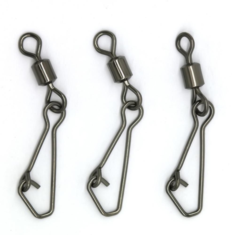 Joshnese 50pcs stainless steel fishing swivels ms ql for Swivel hook fishing