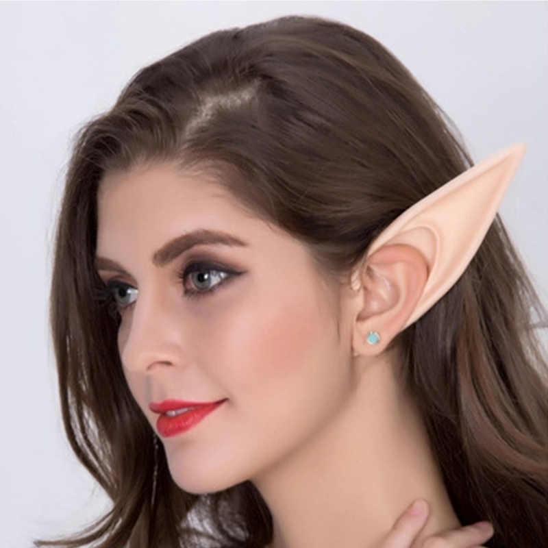 מסתורי מלאך Elf אוזני פיות קוספליי אביזרי ליל כל הקדושים מסיבת חג מולד לטקס רך מחודדת טיפים שווא אוזני אבזרי