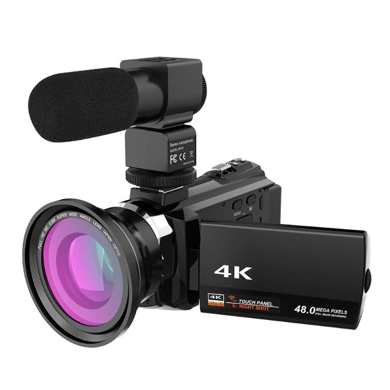 цена на ALLOET 4K Ultra HD WiFi Digital Video Camera 16X Zoom 48MP 3 Touch Screen Camcorder Video Recorder W/ Mic 0.39X Wide Angle Lens
