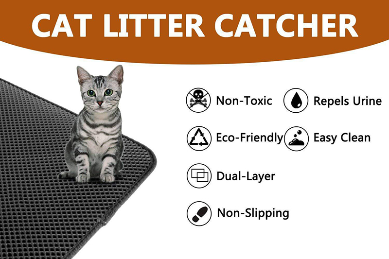 Pets Dog Cat Litter Mat Double-Layer EVA Waterproof Cat Catcher Catch Mat Trapper Pad Smooth Surface Breathable Holes Kitty Bed3