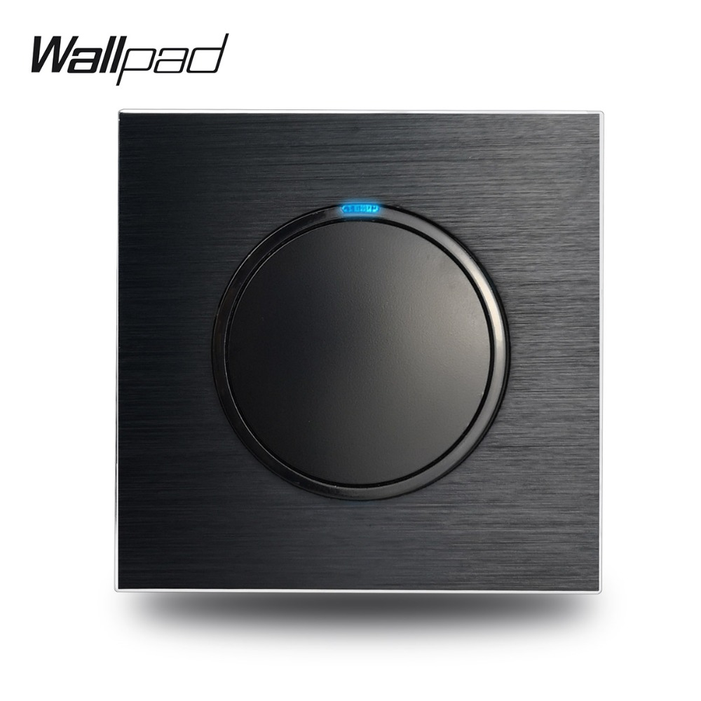 Wallpad L6 Black Metal 1 Gang 2 Way Wall Light Switch Aluminum Plate Random Click Push Return Button With Blue LED IndicatorWallpad L6 Black Metal 1 Gang 2 Way Wall Light Switch Aluminum Plate Random Click Push Return Button With Blue LED Indicator