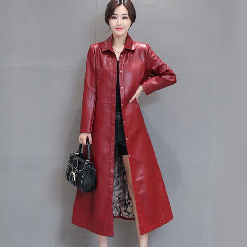 2018 Autumn Plus Size Soft Faux   Leather   Jacket Women Winter Slim X-Long Coat Female PU   Leather   Jackets Outwear Windbreaker