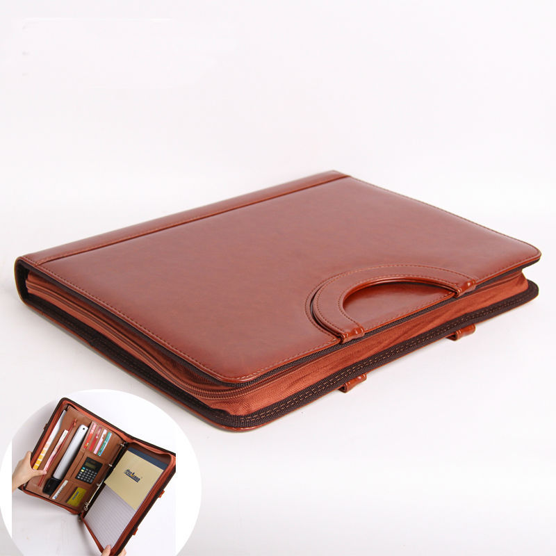 A4 Leather Portable Document Bag Padfolio Manager File Folder with Zipper Business Briefcase with handle calculator