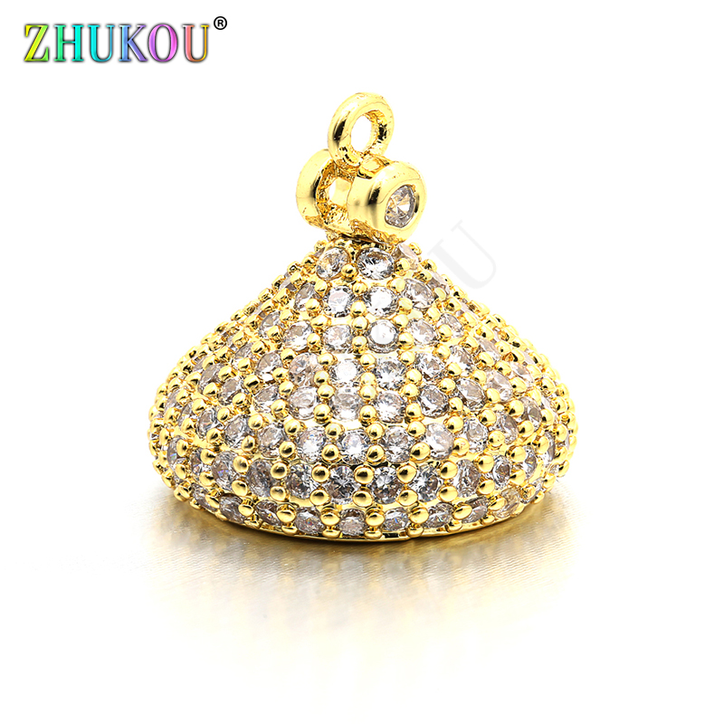 14*13mm High Quality Brass Cubic Zirconia Tassel Caps For Diy Jewlery Findings, Mixed Color, Hole: 1mm, Model:VM20