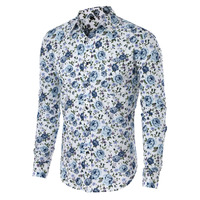 Hot Sale Size M 5XL 2016 New Fashion Floral Print Slim Fit Shirts Men S Long