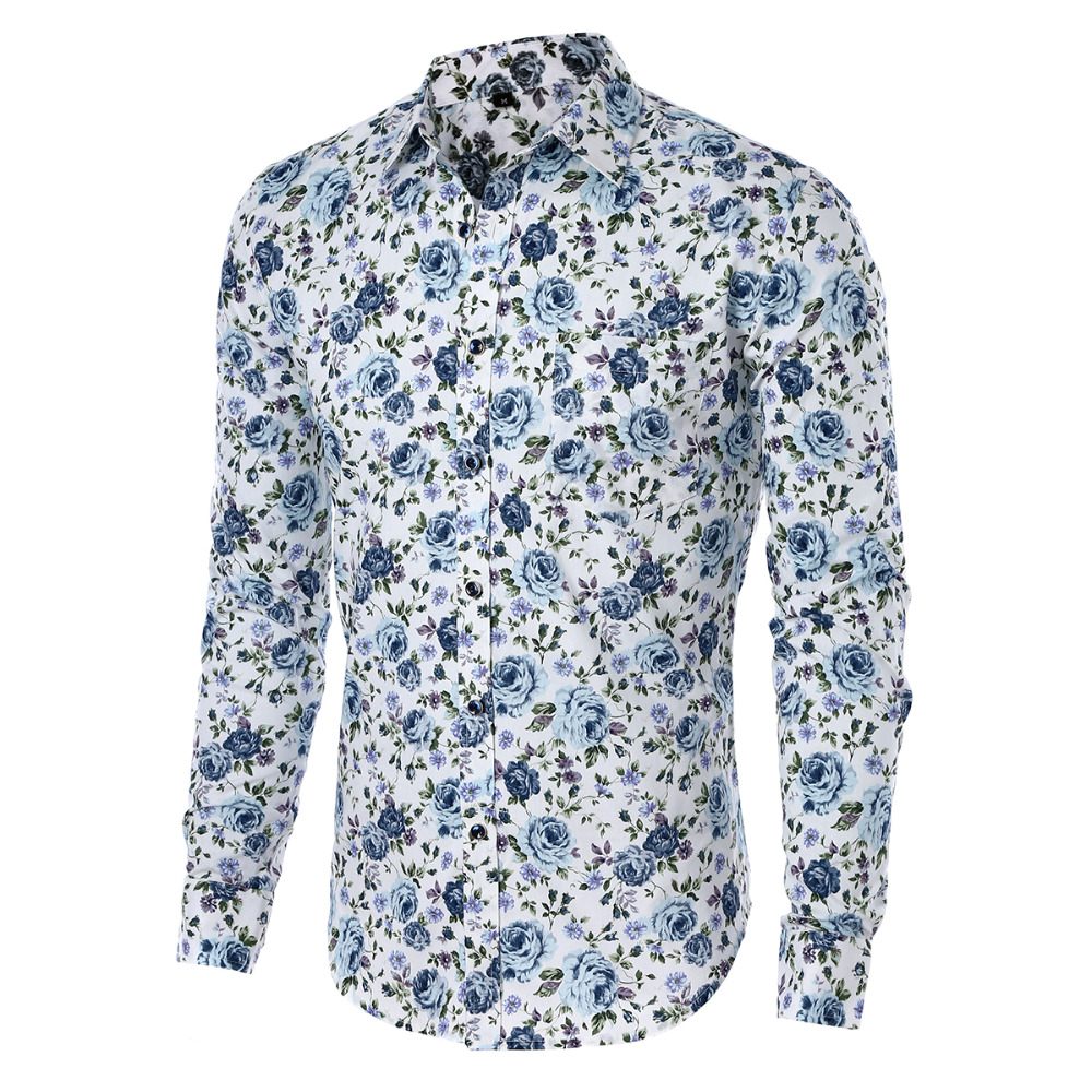 Buy mens shirts hot 2017 fashion long for Mens slim hawaiian shirt