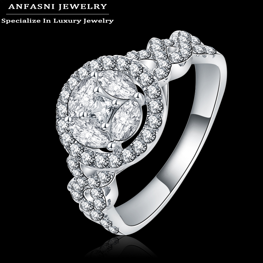 anfasni 2017 top selling romantic wedding rings silver color zirconia ring round shape ring jewelry for - Selling Wedding Ring