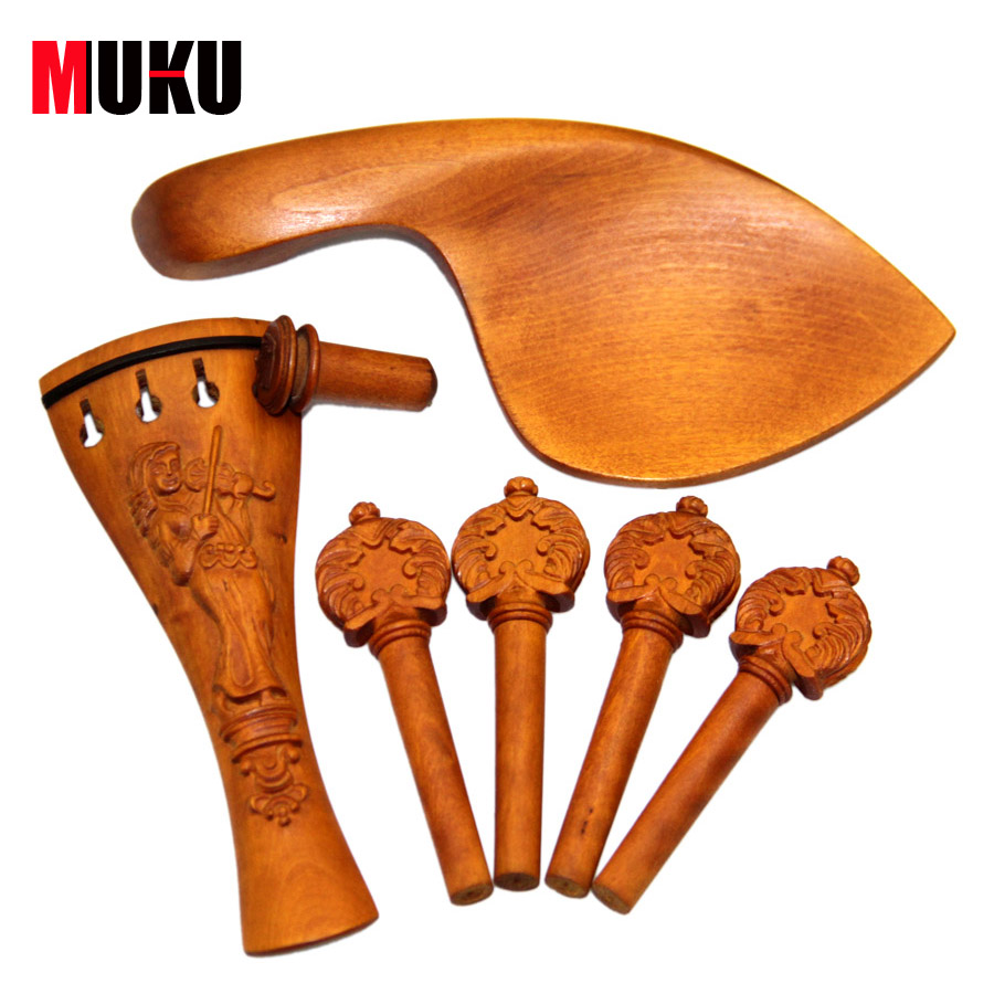 violin pegs/Exquisite Carved Boxwood Acoustic Violin Tuning Pegs Set for 4/4 Violin Accessories one set high quality ebony violin part inlaid sculpture inlay rest endpin tailpiece pegs