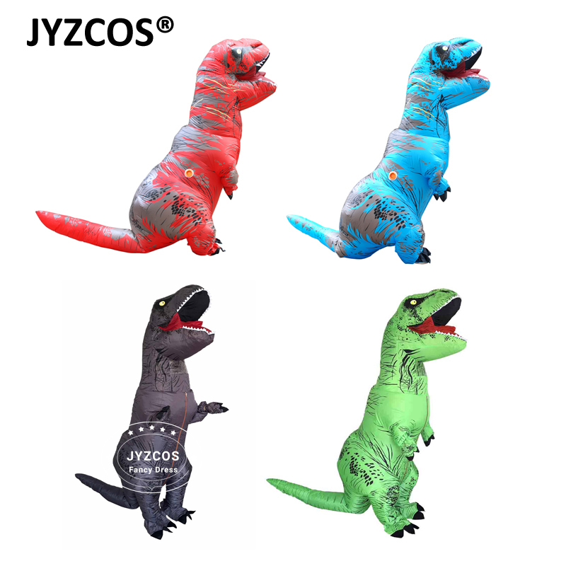 JYZCOS Adult T REX Inflatable Costume Christmas Cosplay T REX Dinosaur Animal Fantasy Jumpsuit Halloween Costume for Women Men