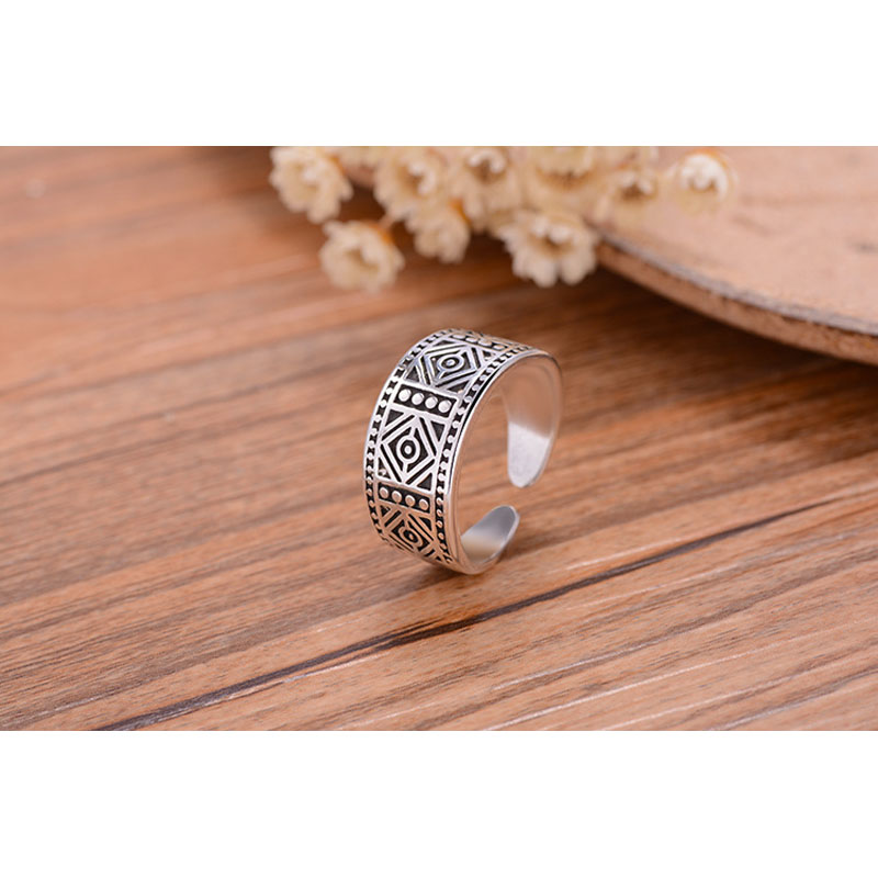 YAAMELI Women Jewelry Antique Retro 925 Sterling Silver Opening Rings Man Wedding Ring Cocktail Party Punk Style Accessories