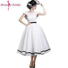 цена на 2017 New Design A-line White and Black V-Neck Sleeveless Backless Tea-length Sashes Party Eveing Dress Prom Dresses