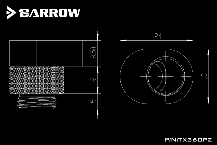 """Купить с кэшбэком BARROW G1/4"""" 360 Rotary Offset Connector Suitable for Adjustment Connection Less Than 6mm Cooling Metal Adapter Male to Famale"""