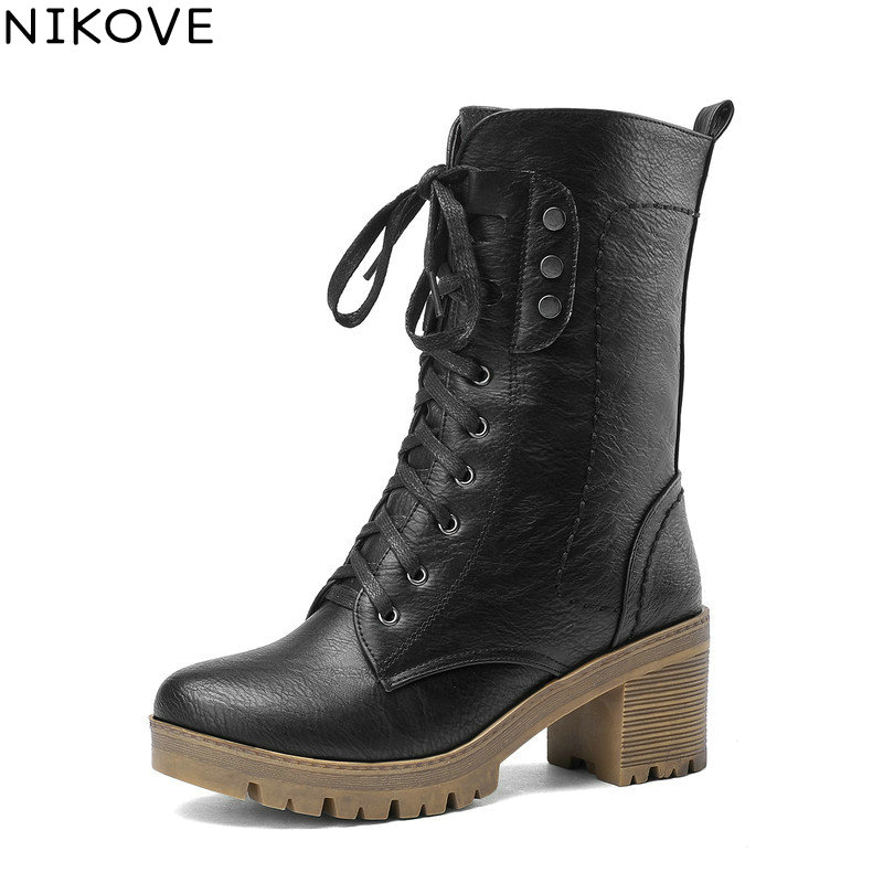 NIKOVE New Winter Shoes Woman Lace Up Mid Calf Boot Motorcycle Boots PU leather Riding Boots Fashion Ladies Shoes Size 34-43 поло merc merc me001emaum09