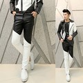 Free Shipping Fashion 2016 Punk Black White Patchwork Boys Faux Skinny Mens Leather Pants Men Joggers Cool Pants Trousers