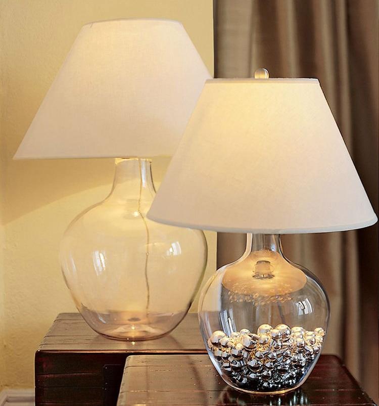 Modern Glass Table Lamp Bedroom tafellamp White Fabric Shade Dining ...