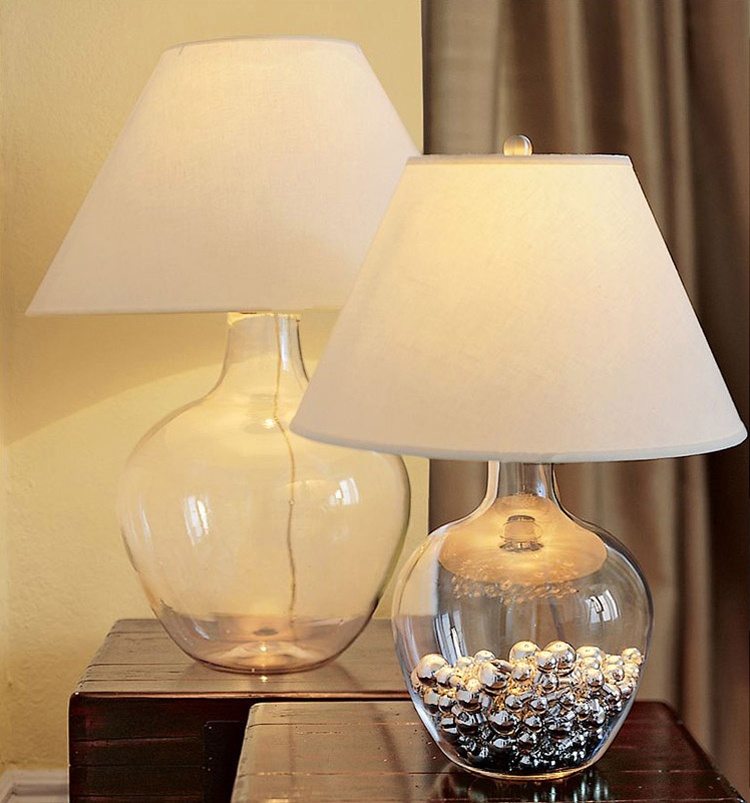 Glass Modern Table Lamp Desk Light White Shade Bedroom