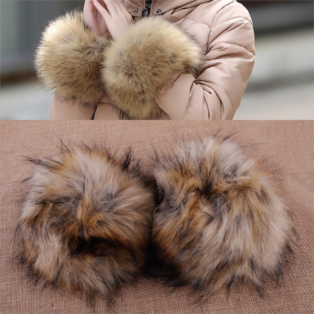 Fashion Women 100% Real Genuine Farm Fur Wrist Cuff Band Arm Warmer Gloves Great Wristbands
