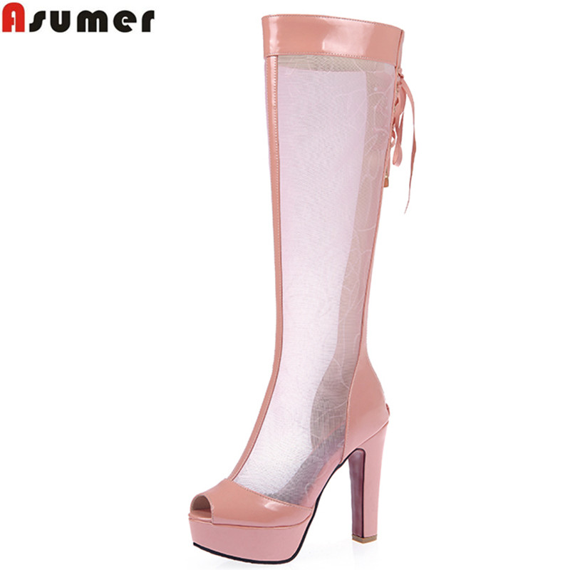 ФОТО Plus size 34-44 new fashion women's knee high boots peep toe platform shoes cut outs women sandals sexy lace up summer boots