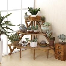 Three layers of solid wood corner flower shelf multilayer floor type flower bonsai antique white balcony garden
