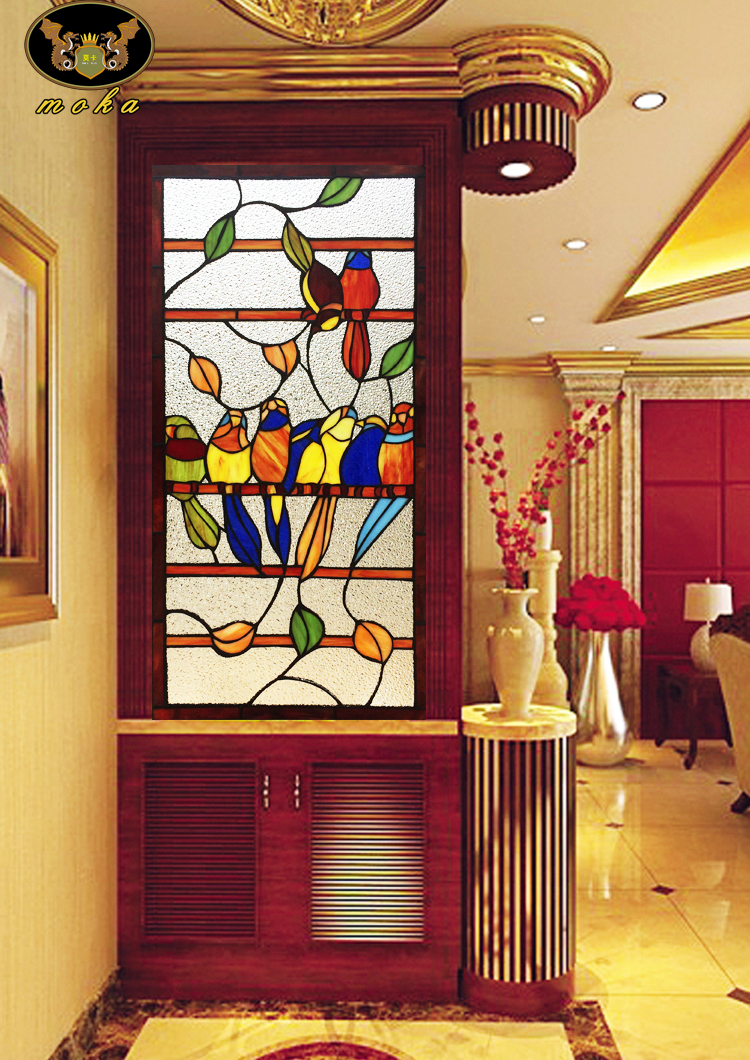 Custom House Entrance Doors Sliding Sliding Wooden Partition Wall Continental Colored Art Glass