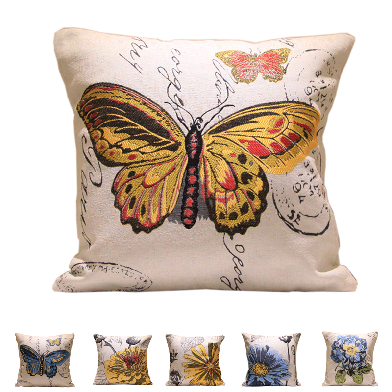 Decorative Pillow Distributors : Aliexpress.com : Buy Floral Pastoral Cushion Cover Butterfly Linen Cotton Sofa Car Bed Throw ...