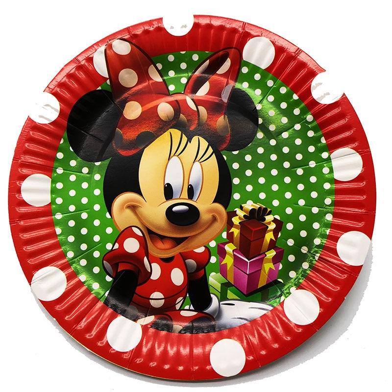 10pcs/pack Minnie Mouse Paper Plates Minnie Disposable Plates Minnie Mouse Disposable Dishes Birthday Party Decorations