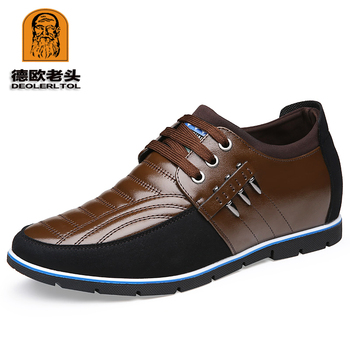 2019 Men's Shoes Genuine Leather +Suede Shoes Brand 5CM Increasing British Shoes Head Leather Man Casual Shoes