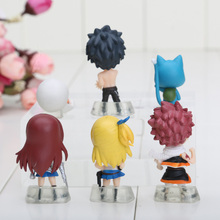 6pcs/set Fairy Tail Figure Model Natsu Happy Lucy Gray Elza Fairy Tail Toy pvc Action Figures toys pendants keyrings keychain