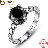 BAMOER Genuine 100 925 Sterling Silver Ring With Black Cubic Zirconia For Women Wedding Jewelry PA7109
