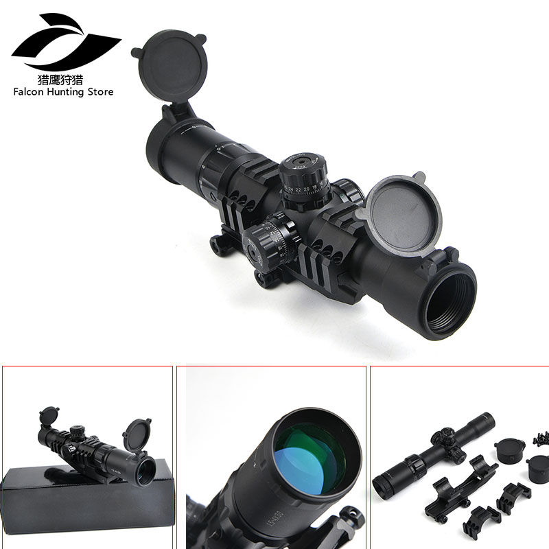 Sniper Hunting 1.5-4x30 RGB Tri-Illuminated Mil-Dot Reticle Riflescope Tactical Optics Scope With 11/20mm Mount mossy oka lb 3 9x32 hunting scopes tactical riflescope sniper scope outdoor tactical hunting gun with 11 20mm mount