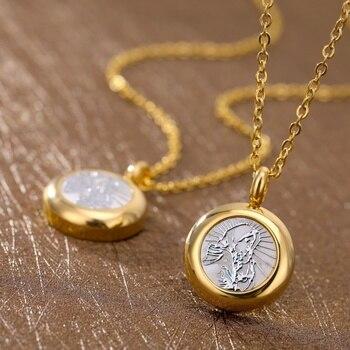 0da610f255d4 De Virgen María colgante de cadena de oro de acero inoxidable católica  collares y colgantes para