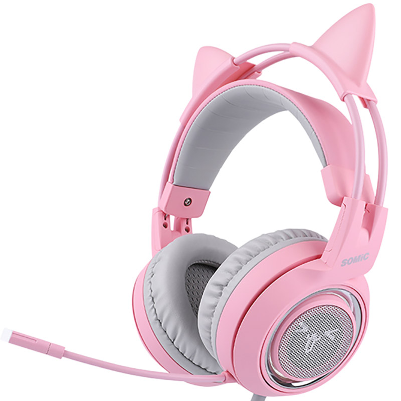 SOMIC G951 Pink Cat Headphones Virtual 7.1 Noise Cancelling Gaming Headphone Vibration Led Usb Headset Girl Headsets For Pc