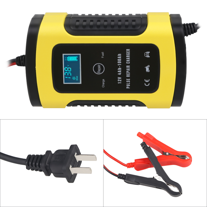 Universal 6A 12v Intelligent Smart Motorcycle Car Battery Pulse Charger Repair Type Lead Acid Storage Auto