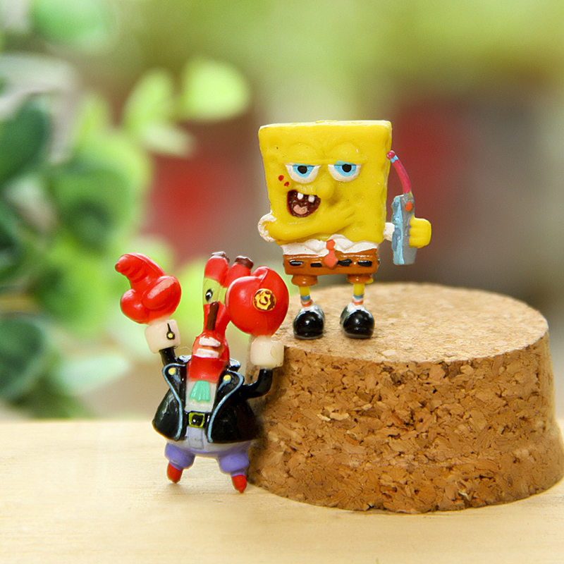 2pcs/lot Spongebob Eugene H. Krabs PVC Action Figures Toy Anime Sponge Bob Figure Classic Kids Toys for Children Boys Girls Gift