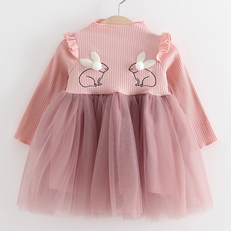 2018 nueva marca bebé Vestidos manga larga conejo bordado partido prom Encaje bebes Niñas manera arropa la ropa del niño