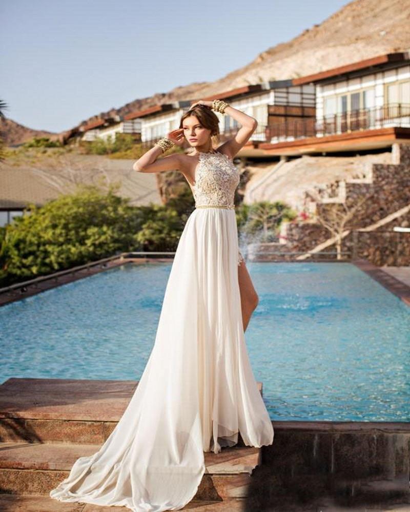 Sexy Bohemian Beach Wedding Dress 2016 Halter Neck Backless Lace ...