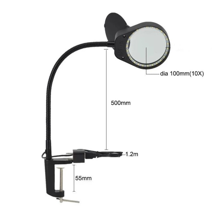 New 3X 10X Large Lens Magnifying LED Table Clip-on Lamp Magnifier Light 5W Clamp for Reading, Craft, Close Work