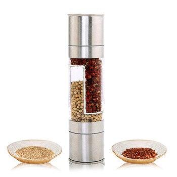 Pepper Grinder 2 in 1 Stainless Steel Manual Salt Pepper Mill Seasoning Kitchen Tools Grinding for Cooking Restaurants