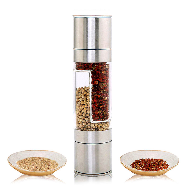 Pepper Grinder 2 in 1 Stainless Steel Manual Salt Pepper Mill Seasoning Kitchen Tools Grinding for Cooking Restaurants