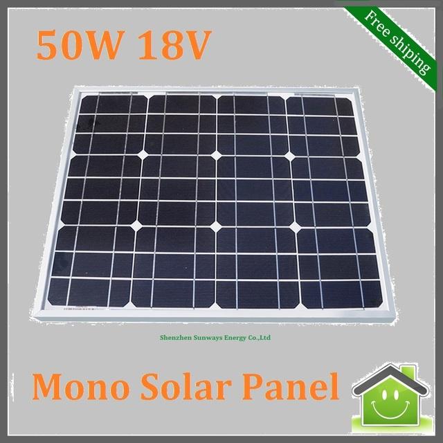 Monocrystalline Silicon Solar Panel 50W 18V for 12V Solar System, Photovoltaic Panel, Solar Module For Car, RV,Camping,Boat