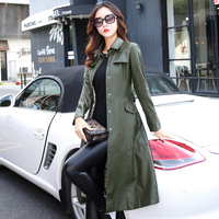 5xl Especially Female Leather Autumn Long Faux Jackets Coat Single Breast Turn Down Collar Large Swing