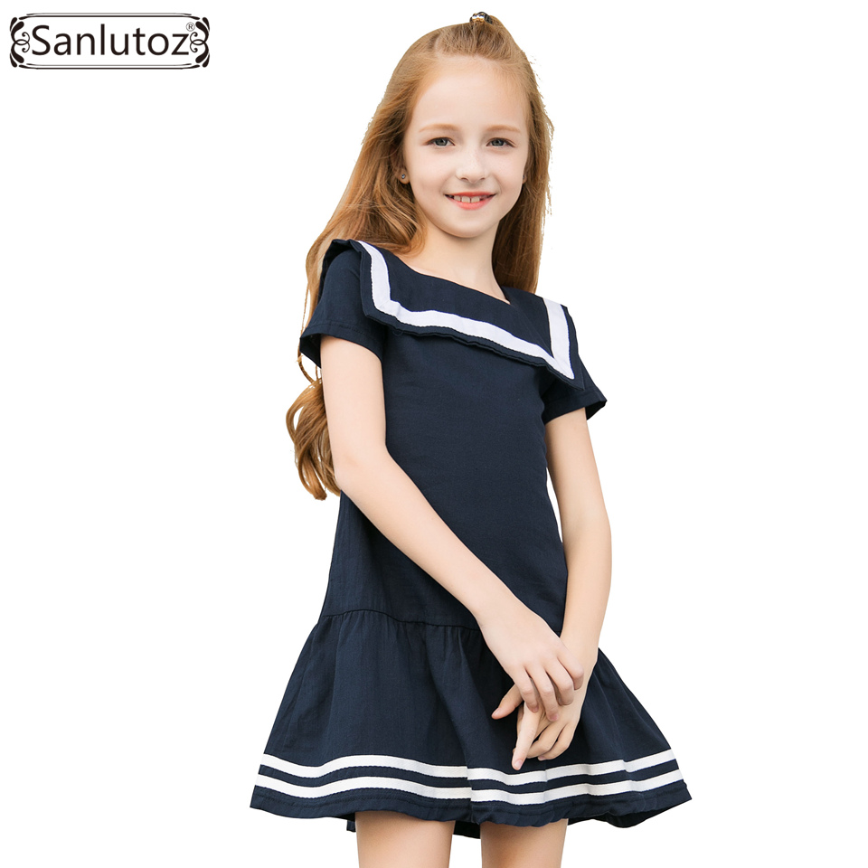Sanlutoz Girls Clothes Summer Kids Dress for Girl Uniform Short Sleeve Girl Dress Cotton Toddler Fashion Brand New 2017 fashion brand domeiland summer children clothing for kids girl short sleeve print floral cotton tee shirts tops clothes