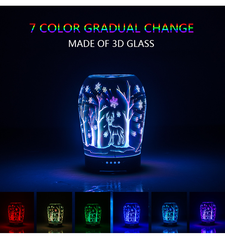 Creative 3D snowflake deer pattern with colorful transform night light glass humidifier aromatherapy machine ultrasonic Lamp colorful boxes pattern 3d stair stickers