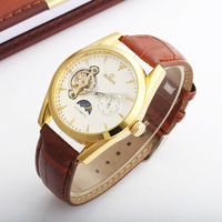 GOER 2018 Golden Design Moon Phase 24 Hours Display Mens Watches Top Brand Luxury Automatic Fashion