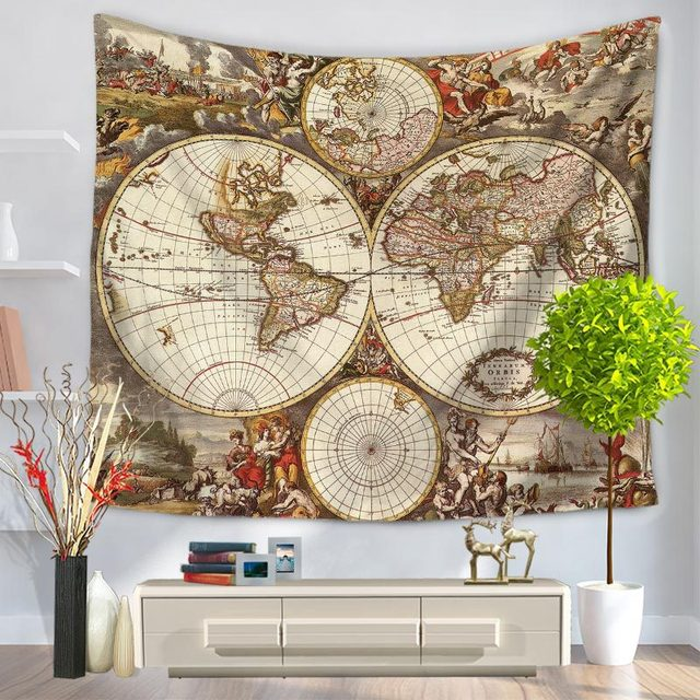Enipate World Map Art Indian Tapestry Vintage Home Decor Old Map - World map blanket