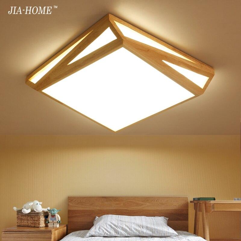 Holz FÜhrte Deckenleuchten Für Wohnzimmer Schlafzimmer Balkon Flur Küche Leuchten In Rechteck Form Lamparas Techo Deckenleuchten