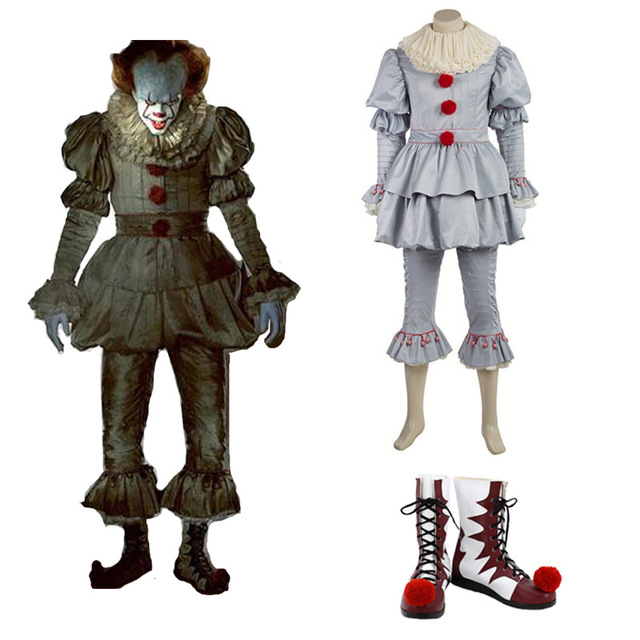Stephen King s It Pennywise Cosplay Costume Adult Men Clown costume suit  Custom made fancy Halloween Terror costume full set b05a8aed1107